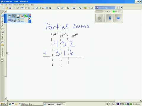 math worksheet : addition  using the partial sums method with songs videos  : Partial Sums Addition Worksheets