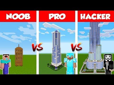 Minecraft NOOB vs PRO vs HACKER: Epic Skyscraper BATTLE in Minecraft / Animation