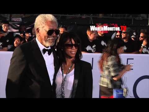 Morgan Freeman and his daughter arrive at Oblivion Los Angeles premiere