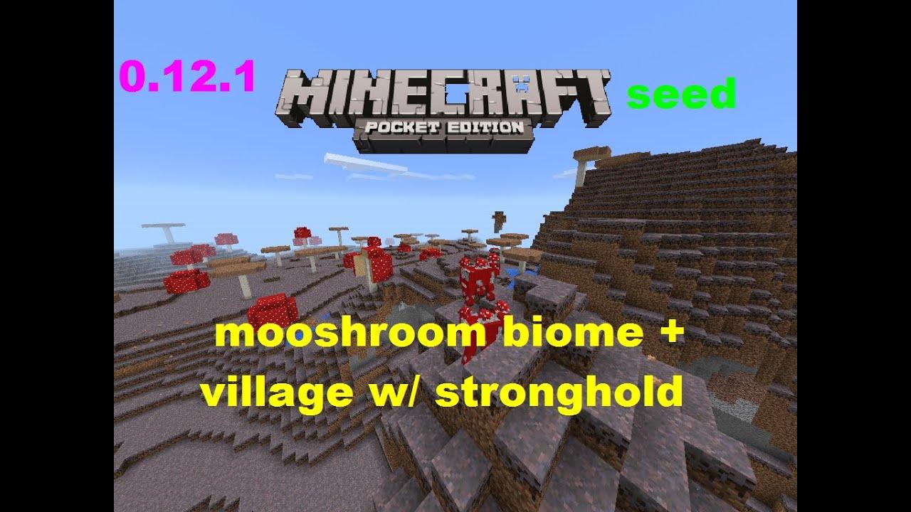 MCPE 0161 SKY ISLAND MUSHROOM BIOME VILLAGE WITH STRONGHOLD SEED MINECRAFT PE YouTube