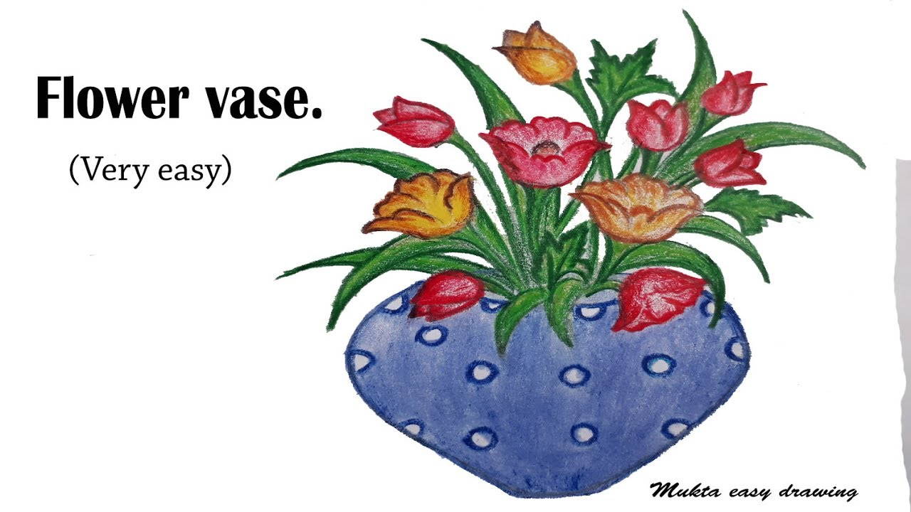 How To Draw Flower Vase Very Easy Youtube