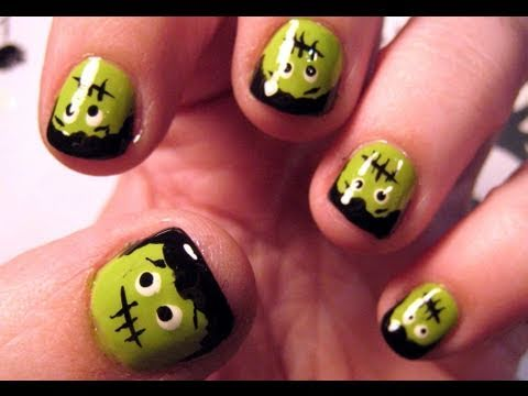 Halloween nail tutorial lil frankies youtube prinsesfo Image collections