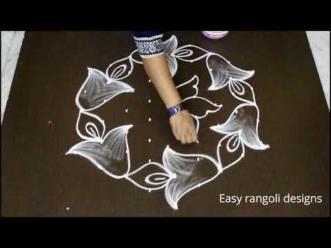 latest sankranthi muggulu designs with dots * simple pongal kolam designs * easy flower rangoli