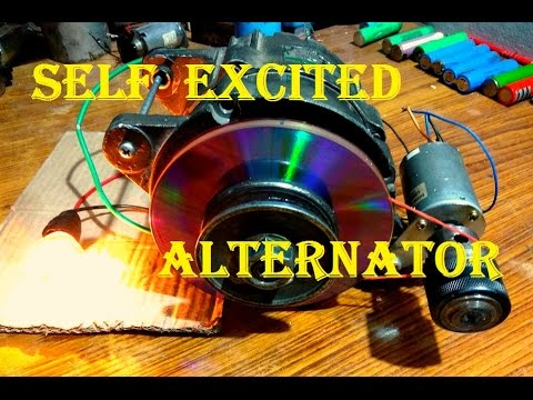 How to Self Excite an Alternator using a small dc generator hack.What an idea: