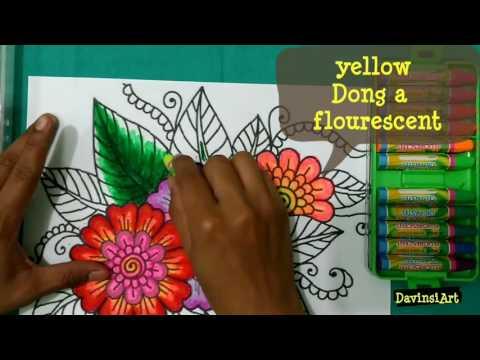 Mewarnai Bunga Dengan Crayon How To Colouring Flower Tutorial