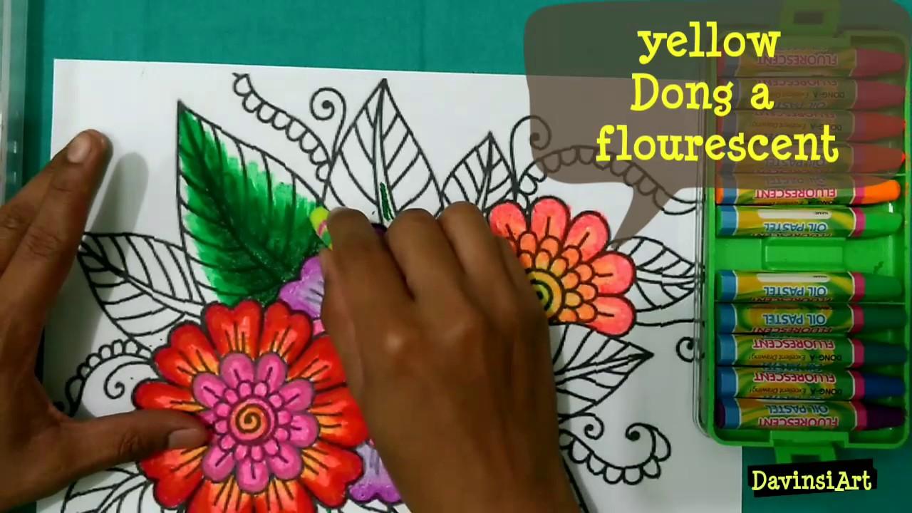 mewarnai bunga dengan crayon how to colouring flower tutorial mewarnai