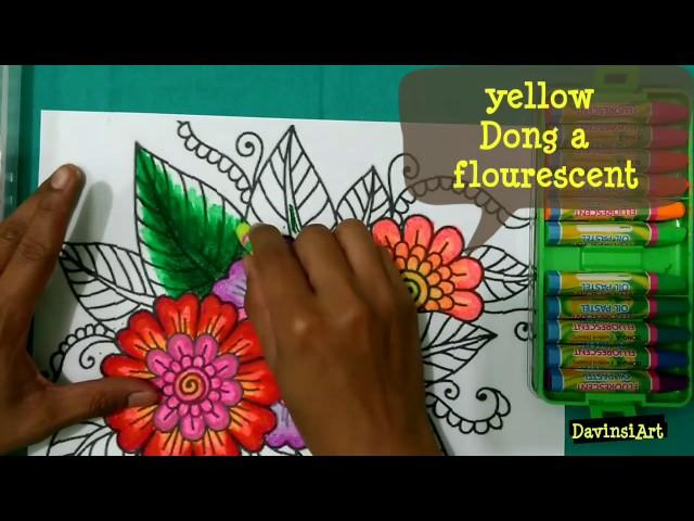 mewarnai bunga dengan crayon. how to colouring flower. tutorial mewarnai