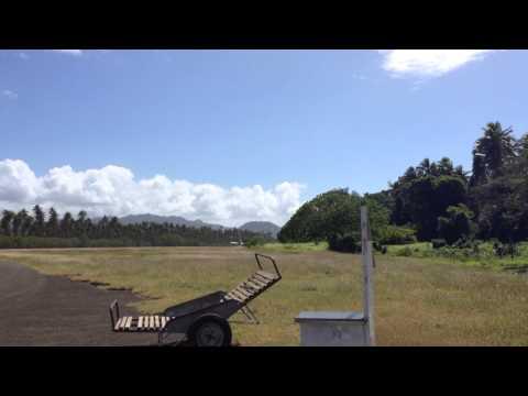 Air Vanuatu Plane Taking Off from Norsup Airport, Malekula, Vanuatu