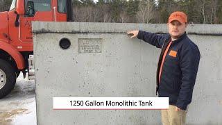 1250 Gallon Monolithic Precast Septic Tank