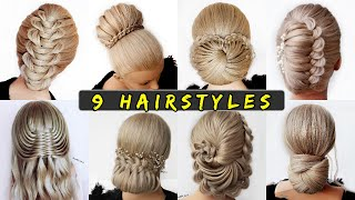😱 9 Easy UPDO HAIRSTYLE Tutorials😍 Wedding Prom Updo perfect for long, medium & shoulder length hair