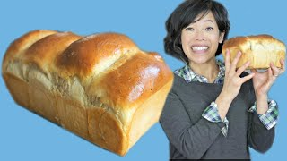 Hokkaido Japanese MILK BREAD Recipe - fluffiest loaf & stays fresh longer?! - Tangzhong Method