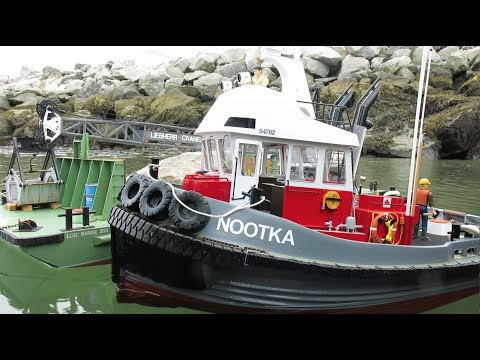 Nootka 1/16 Scale RC Logging Tug Towing the Crane-Barge
