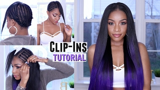 How to Clip in Hair Extensions on Short or Natural Hair + Custom Purple Color ft. BELLAMI