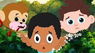 Little Monkey & Magical deer saves baby dinosaur from The LION | Cars Cartoon for Kids