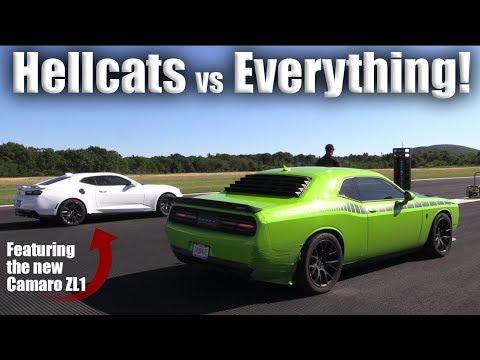 Hellcat Vs New Camaro Zl1 Gt R Shelby Gt500 Corvette Z06 More Half Mile Action Youtube