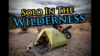 Solo Motorcycle Camping Alone In Desert Wilderness || Honda XR650L Dual Sport