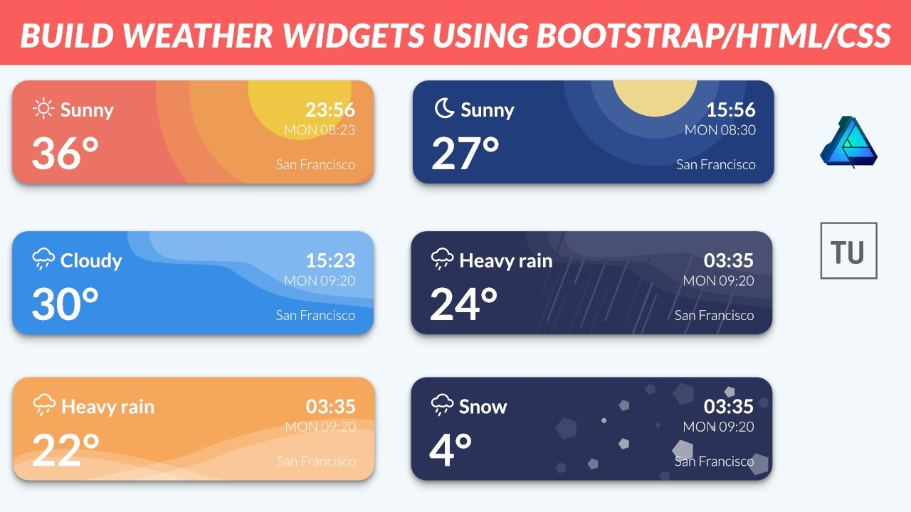UI Design - Build Weather Widgets Using Bootstrap/HTML/CSS And Affinity  Designer