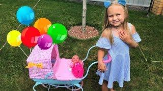 НОВАЯ Коляска и кукла почти РЕБОРН для девочек ! Алиса играет в куклы КАК МАМА !!!