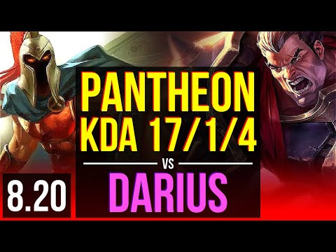 PANTHEON vs DARIUS (TOP) | KDA 17/1/4, Legendary | Korea Master | v8.20