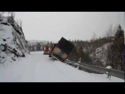 Trailer and Tow Truck  Fall Off a Cliff in Norway