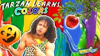 TARZAN LEARN COLORS!  Monkey Man loose in WALMART! Make New Friends + Messy Painting | KIDD in Me TV
