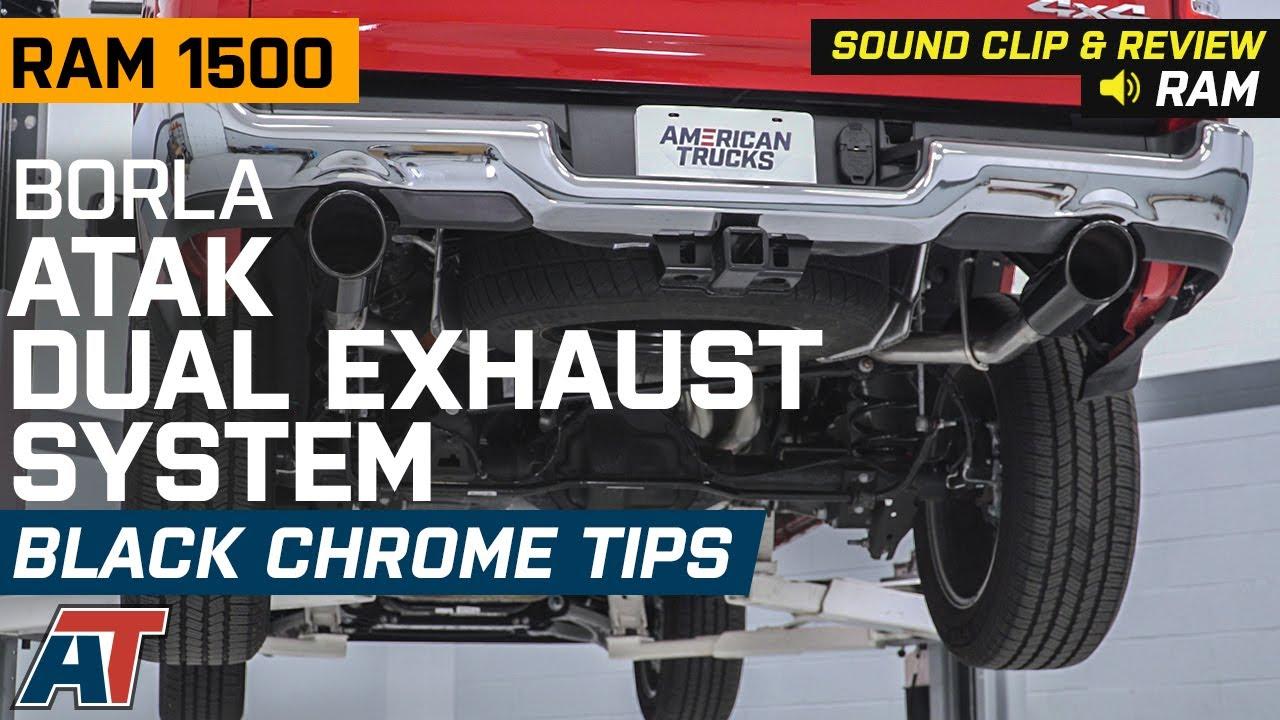 2019 ram 1500 5 7l hemi borla atak dual exhaust system w black chrome tips sound clip review