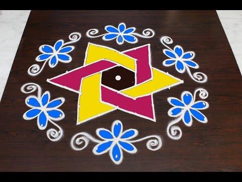 sankranthi flower muggulu designs with 11x6 dots || pongal kolam designs || easy rangoli designs