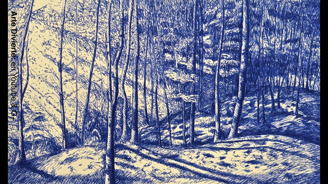 Cmo dibujar un bosque realista con pluma fuente Arte divierte