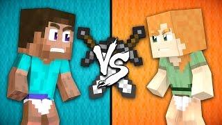 Baby Steve vs. Baby Alex - Minecraft