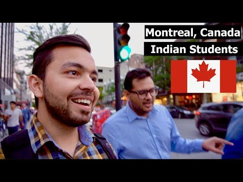 Indian Students having Fun in downtown Montreal, Saint Catherine Street