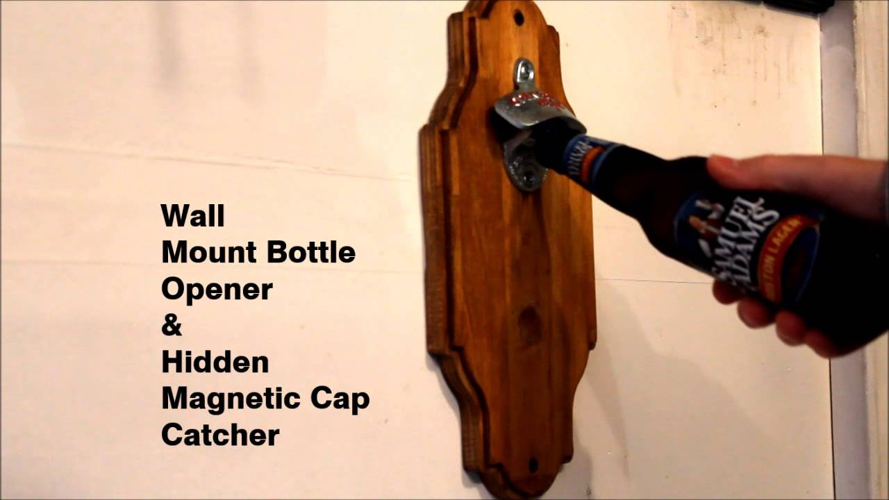Wall mount bottle opener with hidden magnetic cap catcher youtube amipublicfo Image collections
