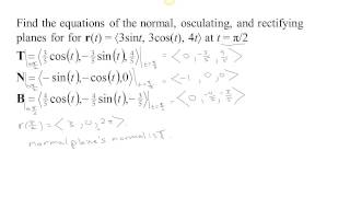 Normal, Osculating, and Rectifying Planes