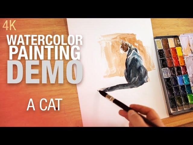 Comment peindre un chat à l'aquarelle 4K