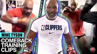 MIKE TYSON - ALL COMEBACK TRAINING CLIPS COMPILATION - TYSON AT AGE 53 ON THE PADS