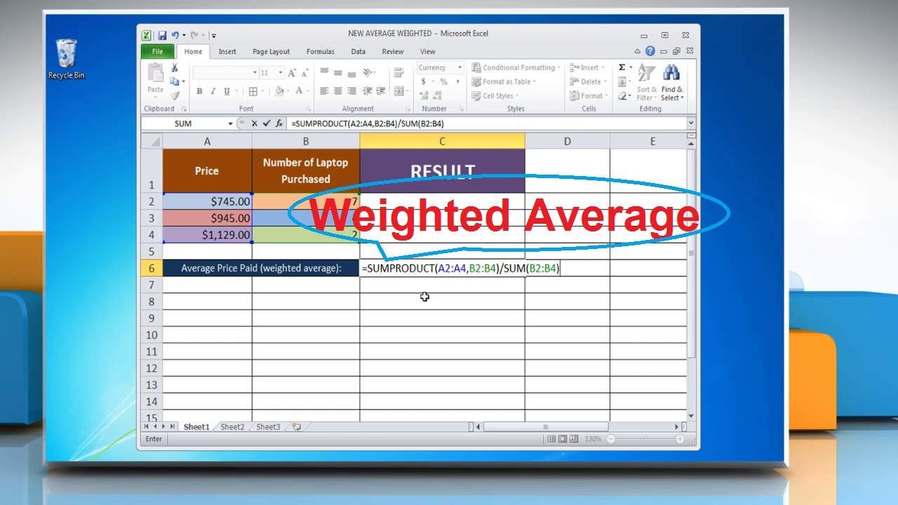 how to make an average in excel