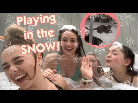 It's Playing in the Snowstorm: Hot Tubbing and The Cat's See Snow For The First Time