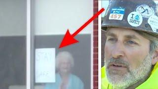 Sie stellte vor dem Fenster ein Schild auf - es machte die Arbeiter sprachlos...