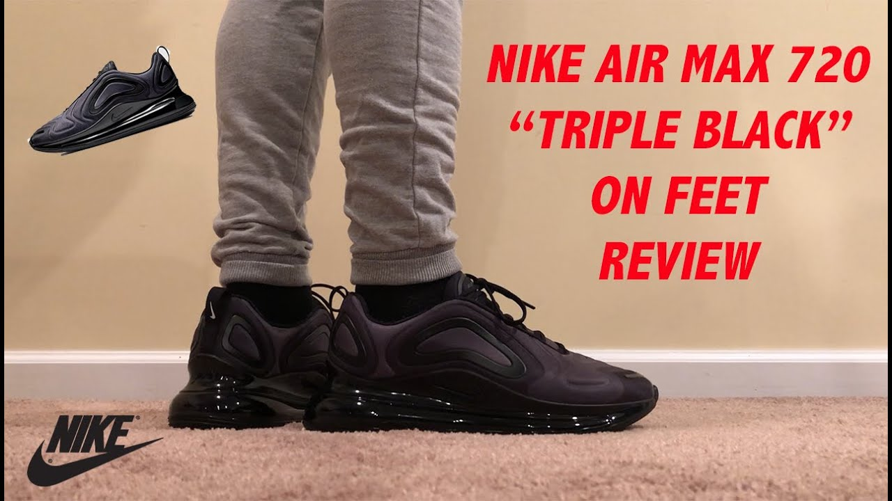 Nike Air Max 720 Triple Black Total Eclipse On Feet Review