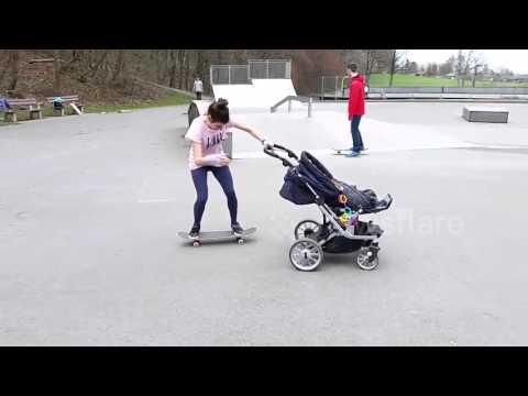 This Mum Can Kickflip A Skateboard While Pushing A Pram