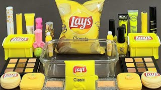 Lay&#39s PotatoChip SLIME ! Mixing&#39yellow&#39 Makeup and Random Things Into Slime,Satisfying slime videos
