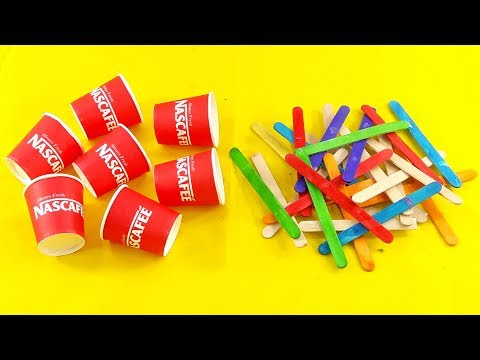 Waste Ice Cream Stick & coffee cups craft idea for nice home deco | Waste material reuse idea