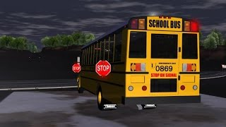 Rigs of Rods School Bus Night Route #1 with Saf-T-Liner C2