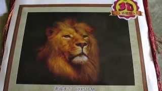 32 Обзор набора вышивки крестиком (Китай) Лев (шелковые нити)