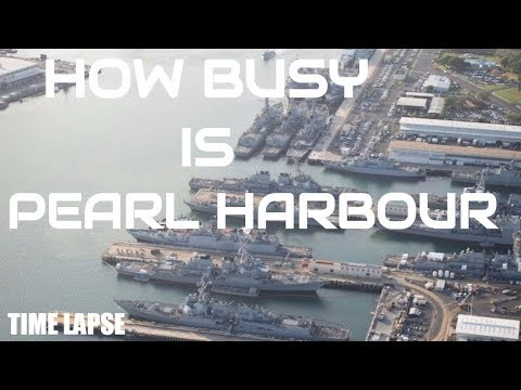 BUSY WARSHIP TRAFFIC IN PEARL HARBOUR U.S NAVY BASE  (timelapse video)