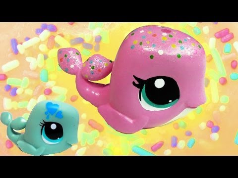 DIY Custom Rainbow Sprinkle Cake LPS Whale Inspired Do It Yourself Painting Littlest Pet Shop Video