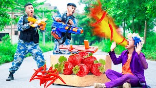 NTK Nerf Movies TWO Blue Police Nerf Guns STRAWBERRY Mix CHILI PEPPERS WAR