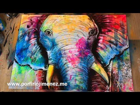 Colorful Elephant Spray Paint Art