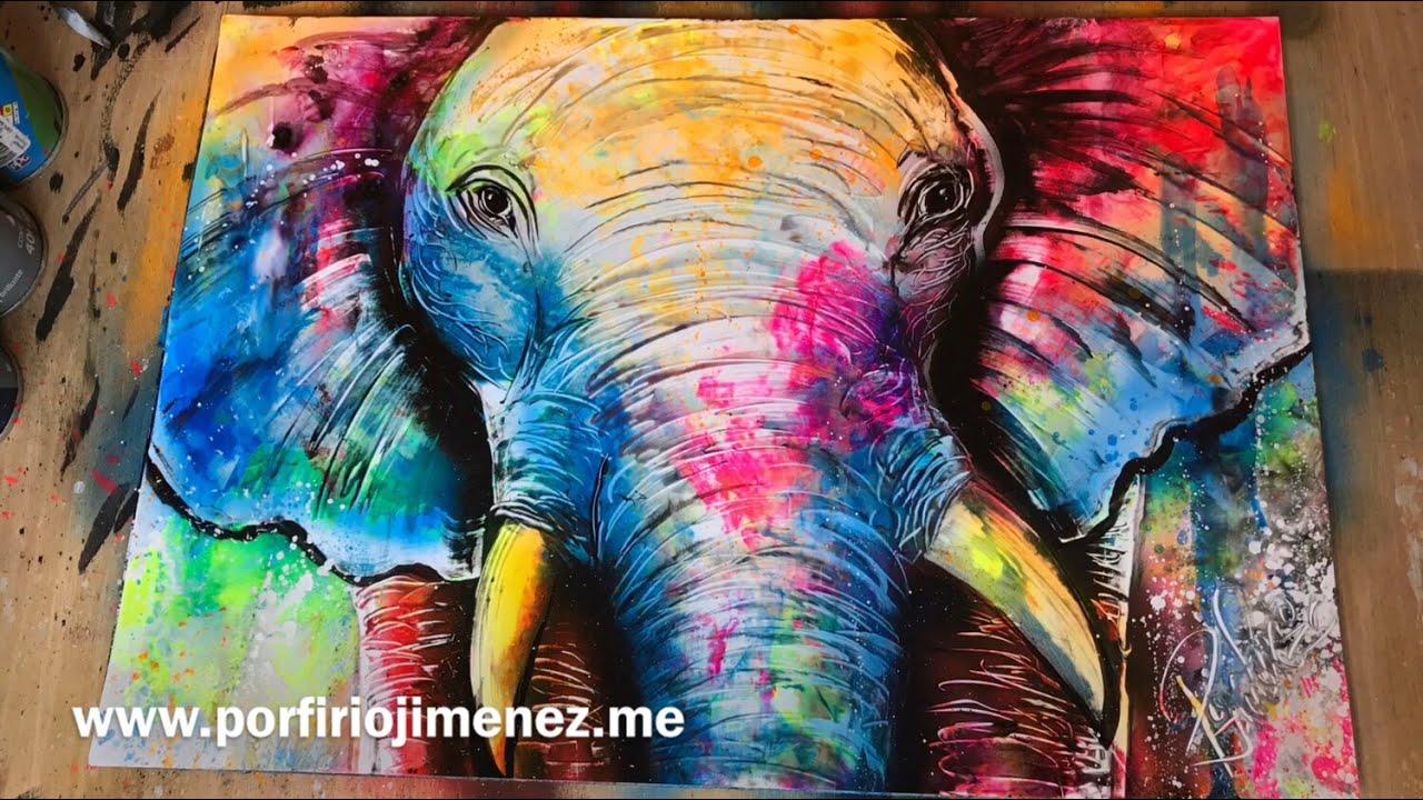colorful elephant spray paint art youtube. Black Bedroom Furniture Sets. Home Design Ideas