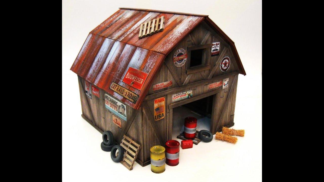 1 25 Scratchbuilt Junkyard Garage Barn Find Weathered