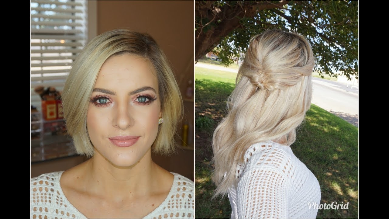 Half Updo For Short Hair With Extensions Youtube